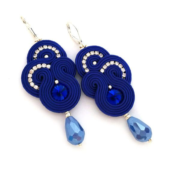 Soutache earrings - Cobalt earrings - birthday gift for girlfriend - Gift for wife - Gift for daughter - Gift for sister - wholesale jewelry
