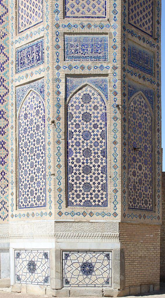 Detail Of Minaret Socle Of The Bibi Khanum Mosque Samarkand Uzbekistan The Arched Vertical Panels Vintage Wallpaper Patterns Geometric Art Pattern Wallpaper
