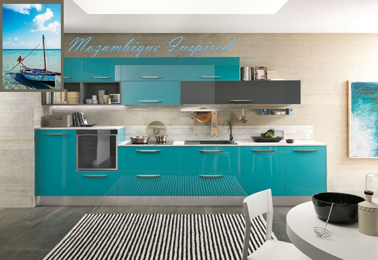 #Mozambique. A country of gorgeous blue's. This turquoise kitchen idea reflects the excitement and beauty of beautiful Mozambique.
