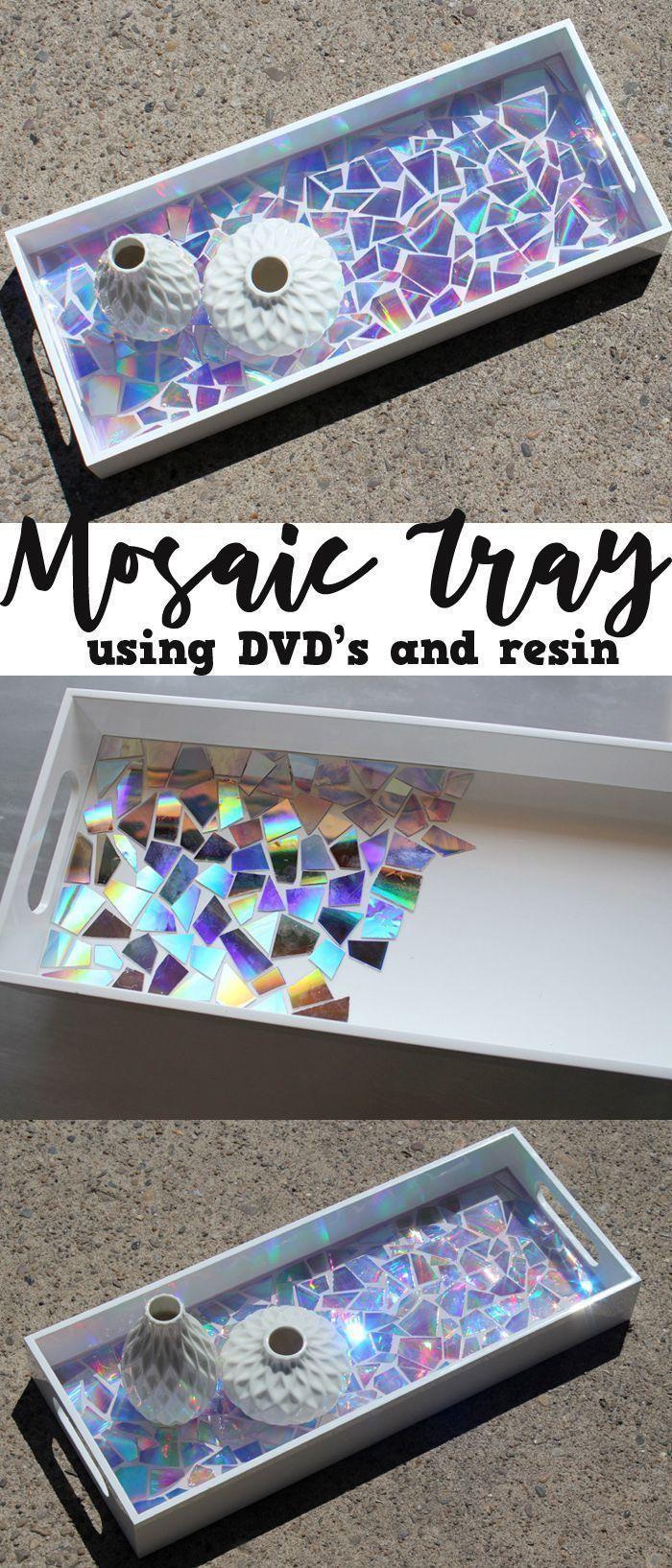 Dieses DVD-Mosaik-Hochglanz-Tablett gibt eine Aussage ab! –  – #diymöbel