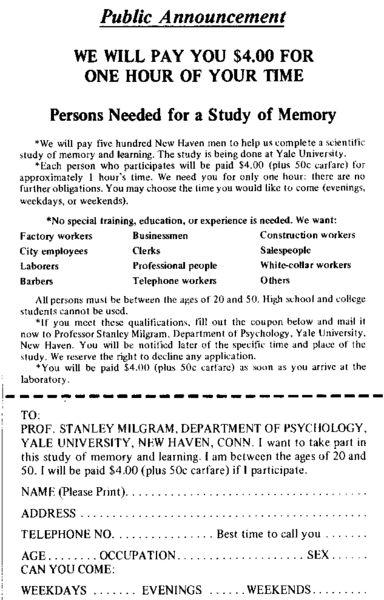 Original Recruitment Flier for Milgram's Obedience Experiment » Sociological Images