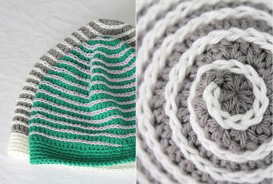 Mönster: Virkad mössa i spiral, 5 storlekar.