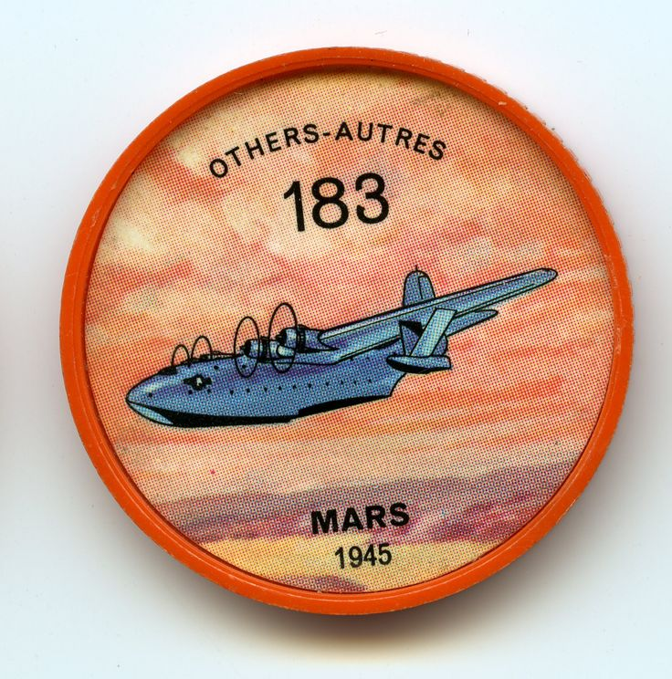 Jell-O Coin 183 - Mars (1945) - Originally projected by the U.S. Navy as a patrol bomber, the Martin Mars now serves in Canada as a flying fire engine. Four of the type were purchased by a private organization and fitted with 7,000-gallon water tanks to combat forest fires. Retractable scoops fill a tank in 45 seconds while the plane is taxiing. Specifications; Wingspan 200 ft. Length 120 ft. Weight 145,000 lbs. Speed 130 mph. Power from four 2,250 hp Wright engines.