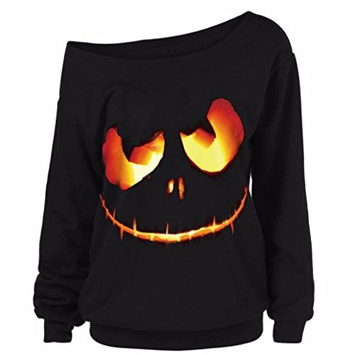 AIMTOPPY Women Halloween Pumpkin Devil Sweatshirt Pullover Tops Blouse Shirt Plus Size (XL, Black)