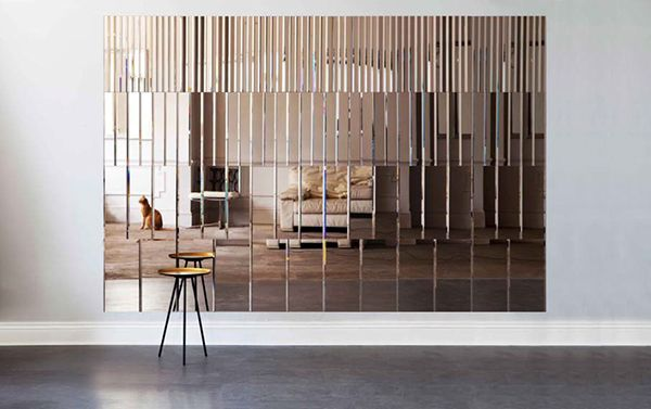 'Pleat Mirror Panel' – Bevelled, tinted mirrored glass wall panels which can be mixed using three colours: Smoked Bronze, Pink Rose and Black Gloss. By Afroditi Krassa