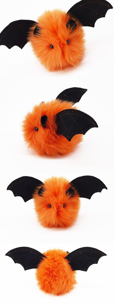 Halloween cute plush toy orange bat from Fuzziggles softie stuffed animal