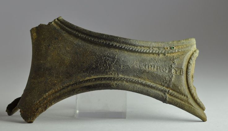 Roman makers name, roman patera handle with makers name, 2nd-4th century A.D. Roman makers name, roman patera handle with makers name, bronze, inscribed IPIPOVYB, 7.8 cm long. Private collection