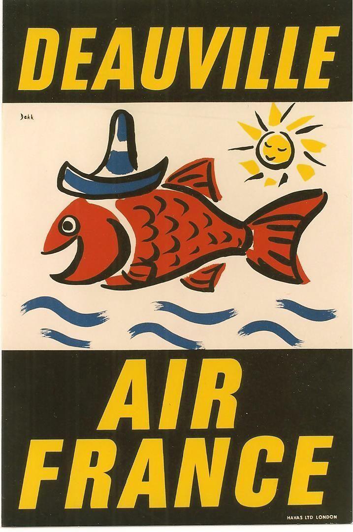 Air France - Deauville / poster by Dorrit Dekk from 1953