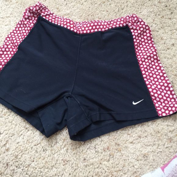 Nike running shorts Cute Nike running shorts. Some wear and tear (showed in last picture). Elastic works fine but is bunched a bit -- no change in fit. Nike Other