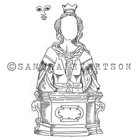 "St. Cecilia (Set w/ Face) - SE6018M - Rubber Art Stamp (approx. image size 2 1/2"" w x 4 3/4"" h)   St. Cecilia: The name Cecilia is a Latin name meaning blind, n"