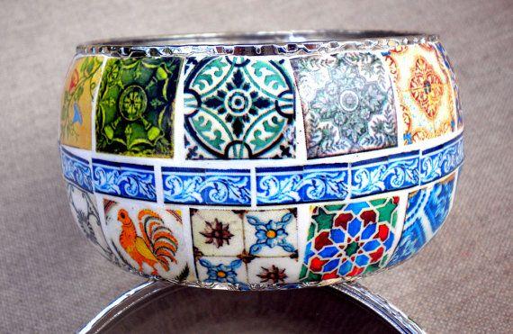 Portugal Antique Azulejo Tile COLLAGE CUFF Bracelet  OOAK by Atrio,