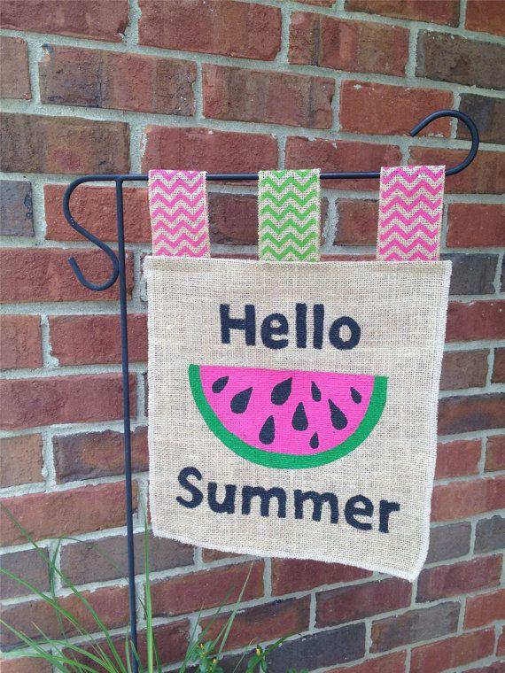 Hello Summer Garden Flag Yard Flag Spring by LacyBellesBoutique, $20.00
