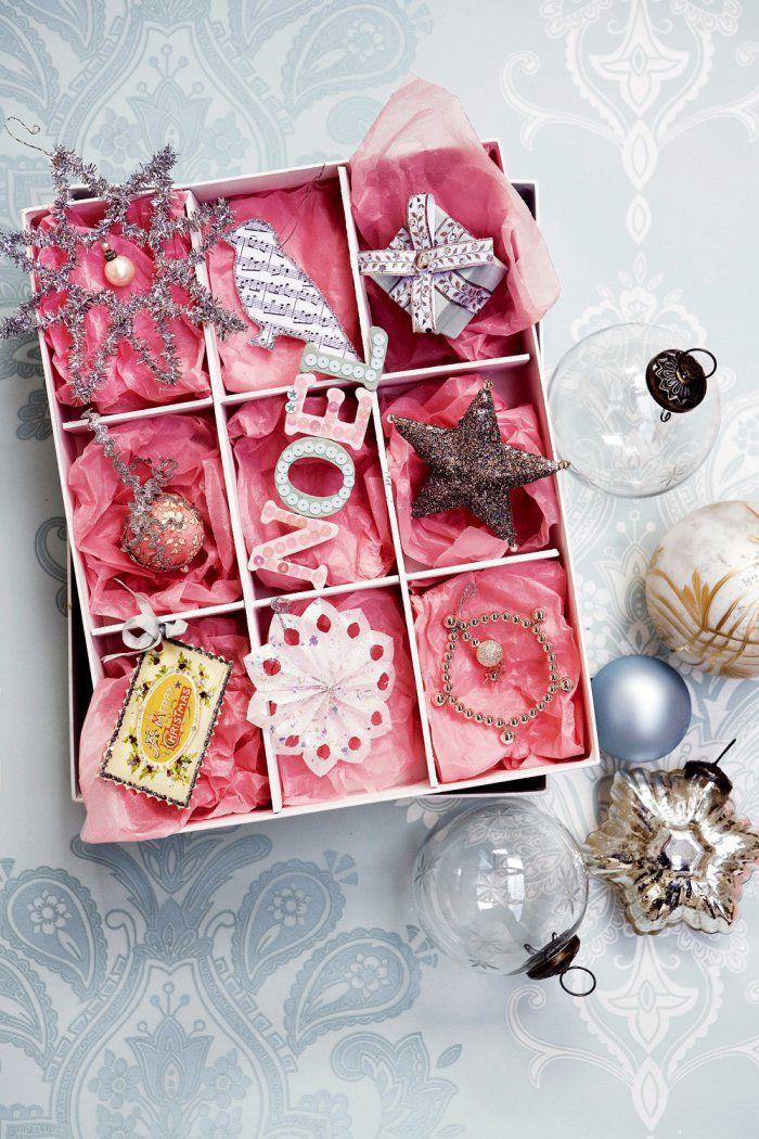 Des décorations de Noël pailletées