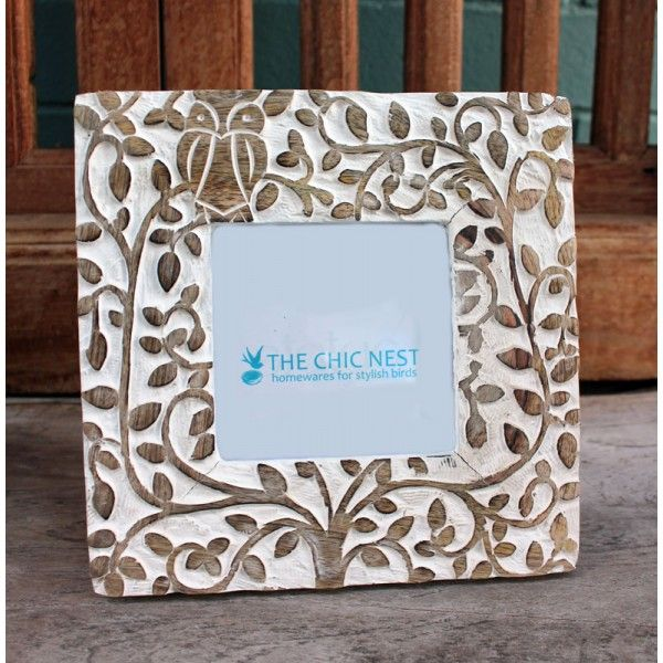 Whitewash Wooden Owl Photo Frame 4 x 4