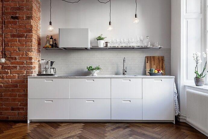 Kitchenwalls behang bakstenen muur wit geschilderd behang
