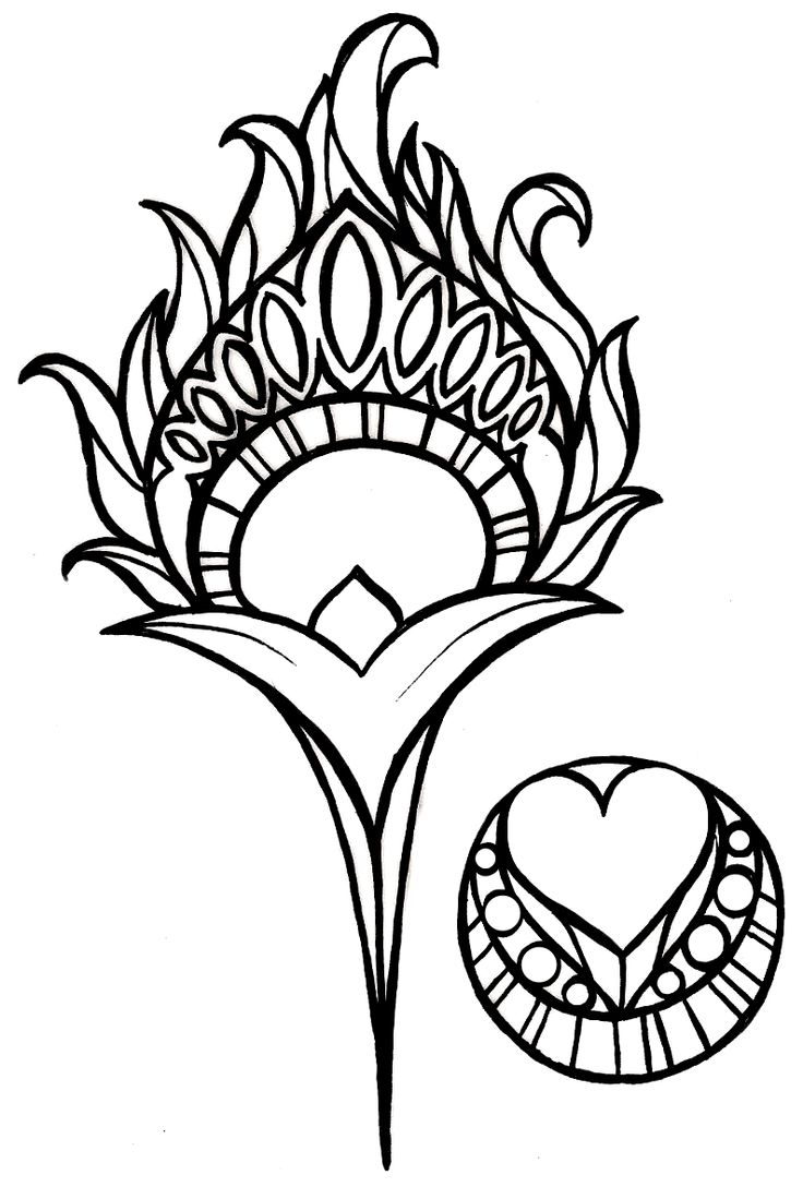 Free coloring pages of peacock feathers coloring everyday printable - Art Nouveau Peacock Feather Tattoo By Metacharis On Deviantart