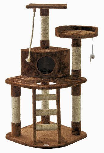 Go Pet Club Cat Tree Condo Furniture 47.5-inch Brown Tower House Scratching Post #GoPetClub