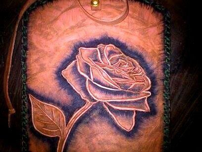 Rose Engraved tobacco bag by ZackLeatherCrafts on Etsy