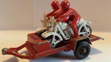Vintage 1960's Tootsie Toy Motorcycle Racers w/Trailer 2 riders Original paint