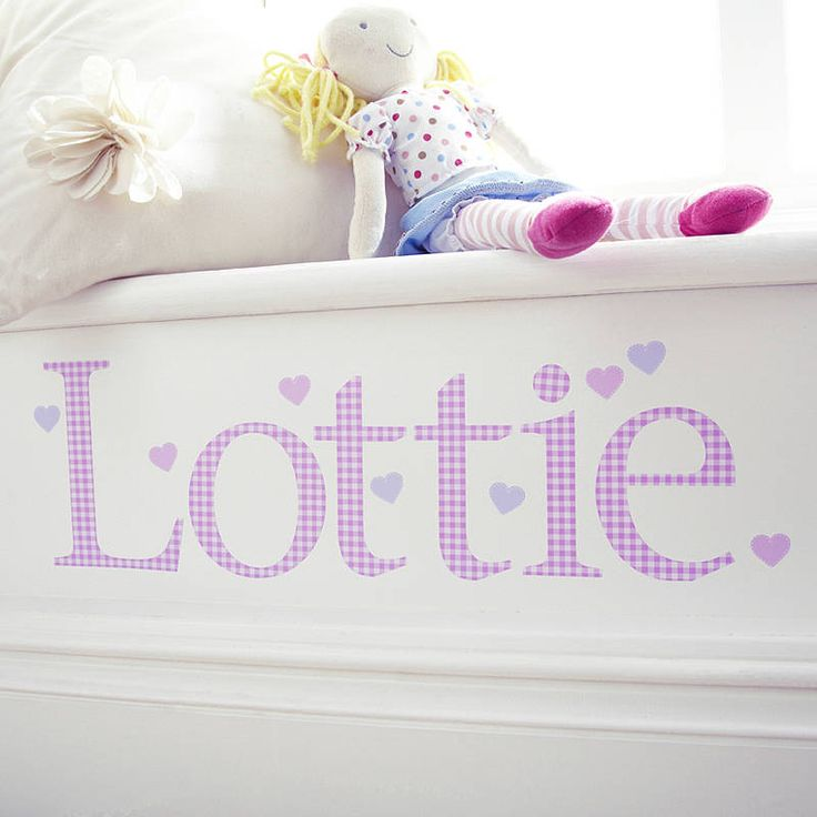 Personalised Pink Gingham Wall Letter Sticker
