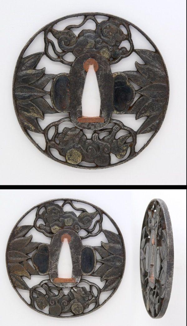 Edo Some leaves are engraved openwork on round shape iron Tsuba.
