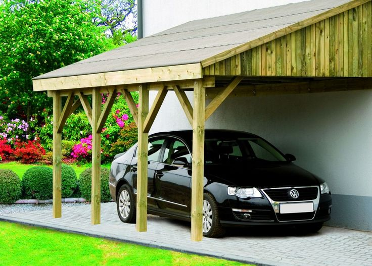 Wiata garażowa  - carport – Typ VIII, 300x590, przyległy do ściany