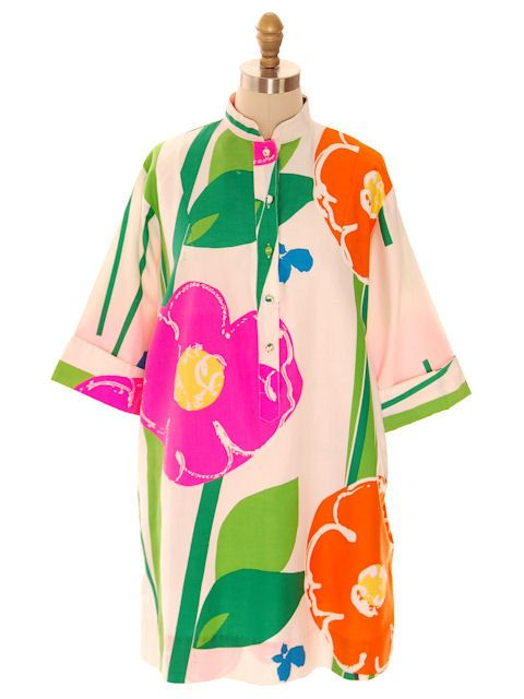 Perfect Spring Vintage Catherine Ogust /Penthouse Gallery Shirt Dress/Tunic Bright Floral Cotton L 1970s by BestVintageEver on Etsy