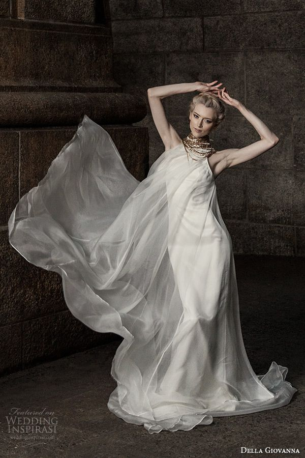 della giovanna #wedding dress 2015 bridal sleeveless silk organza pleated trapeze gown model alexandria #weddings #weddingdress