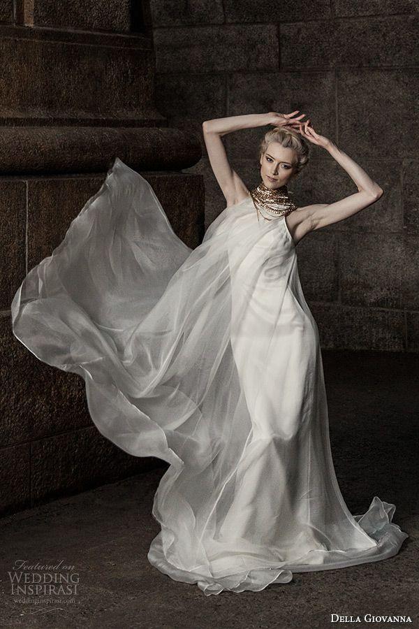 della giovanna #wedding dress 2015 bridal sleeveless silk organza pleated trapeze gown model alexandria #weddings #weddingdress