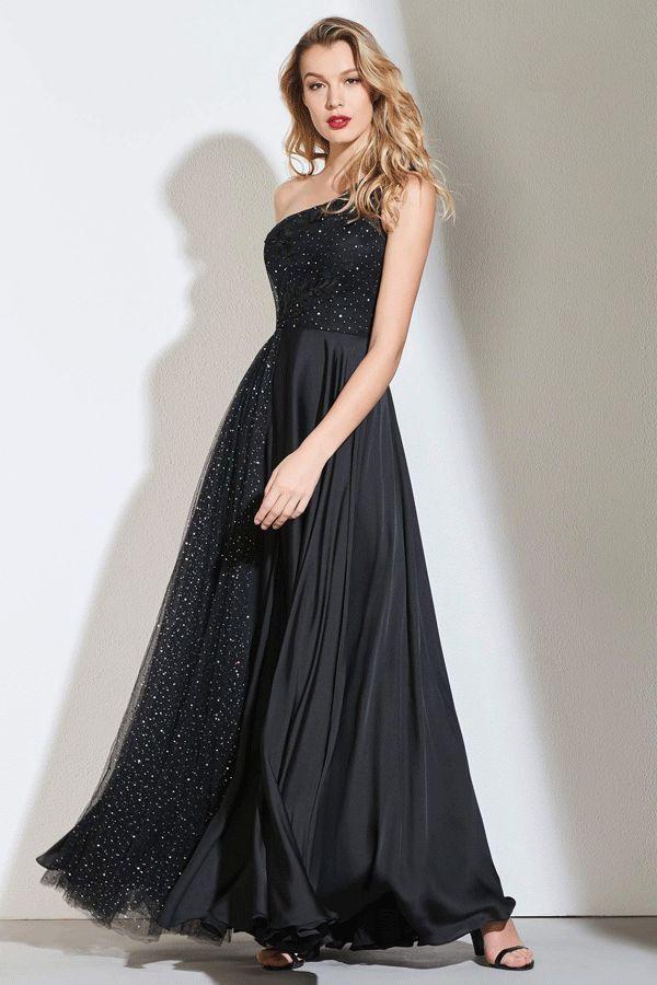 d0a8fcee826 $164.99 Dresswe.com SUPPLIES Appliques One Shoulder A-Line Black ...