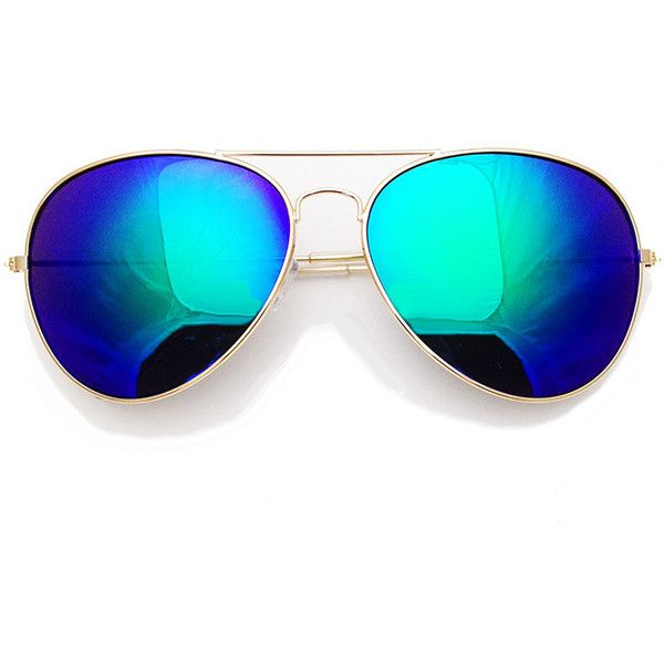 Mirrored Aviators in Iridescent ($7.14) ❤ liked on Polyvore featuring accessories, eyewear, sunglasses, mirror aviator glasses, mirrored lens aviators, mirror aviators, uv protection glasses and mirrored aviator glasses