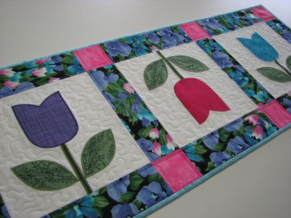 Quilted Table Runner  Tulip Table Runner  by VillageQuilts on Etsy