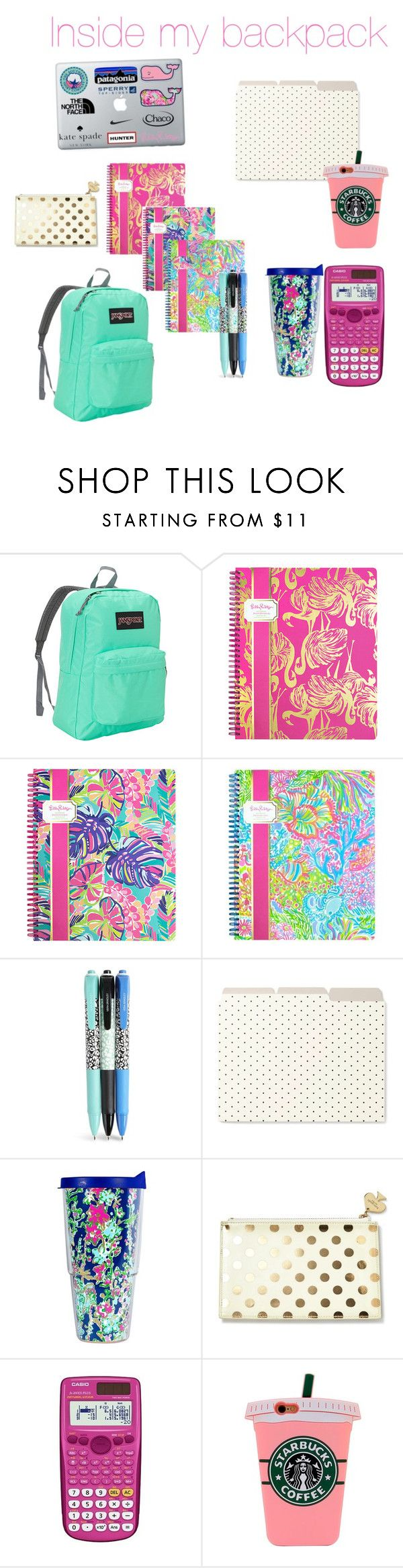 """Inside my backpack 🎒"" by fashionwithsofia ❤ liked on Polyvore featuring JanSport, Lilly Pulitzer, Vera Bradley, Kate Spade and Casio"
