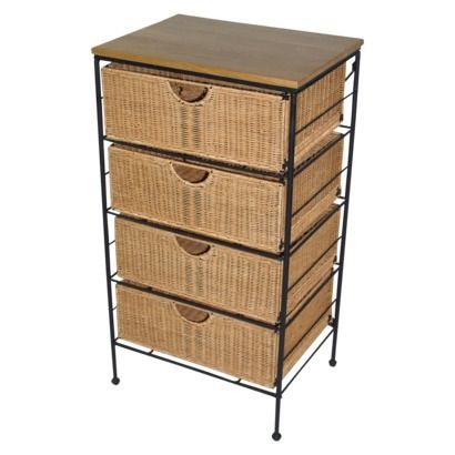 4 Drawer Wicker Cabinet   Natural