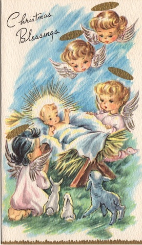 angels reminds me of my mom's 1950-60's vintage Christmas cards