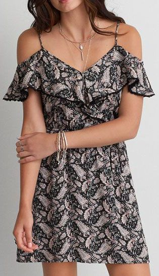 American Eagle Outfitters AEO Wrap Front Off-the-Shoulder Dress