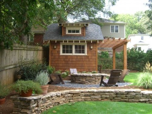 Love this craftsman shed and pergola. This would be great to replace the old shed with an outdoor shower under the pergola.
