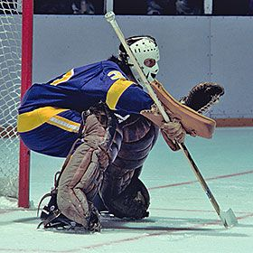 "Rogie Vachon. His stance is like Danby's ""At The Crease""."