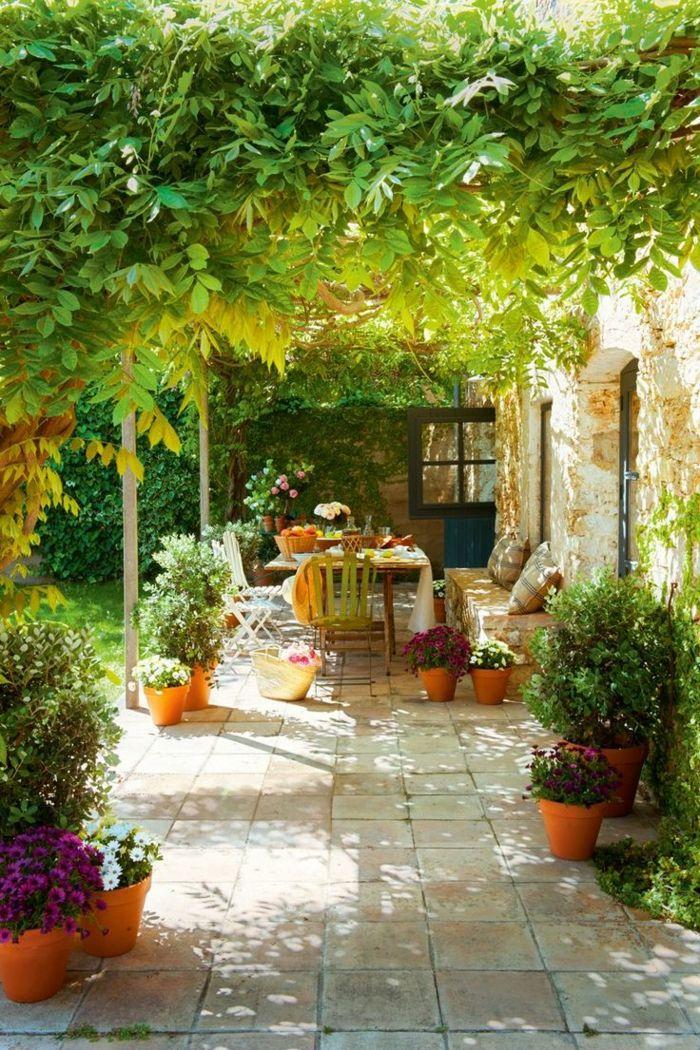 meubles de jardin, maison rétro avec plantes grimpantes pour le jardin