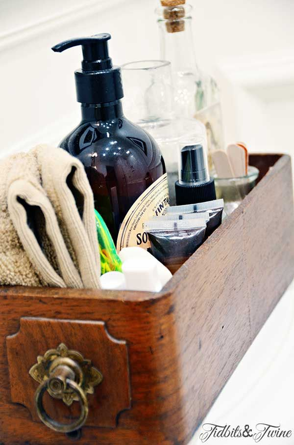 TIDBITS-&-TWINE-Guest-Bathroom-Sewing-Drawer-Toiletries for the guests (place on back of toilet) wash cloth, extra hand soap, travel size shampoo, conditioner, hair spray, small sewing kit