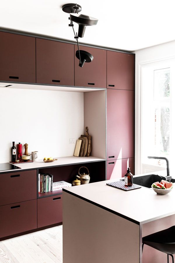 Housing: Kitchen in red and pink shades // Home decor: Burgundy kitchen