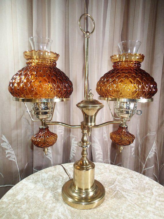 Vintage Fenton Double Hurricane Student Lamp By