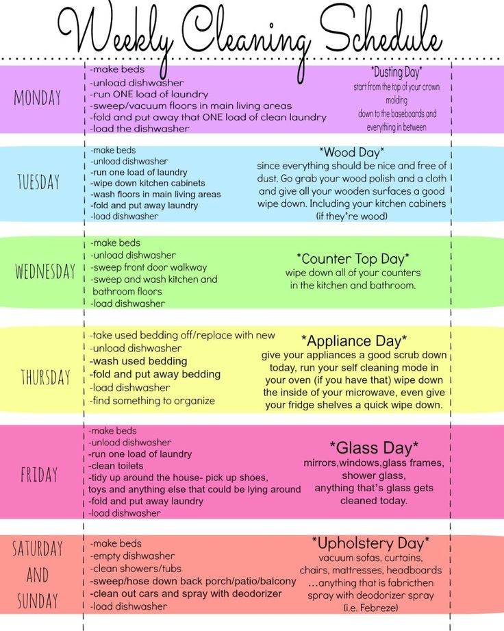 Free Printable Weekly Cleaning Chart #cleaningtips #housekeeping #chorelist #chart #schedule #home #diy #cleaning