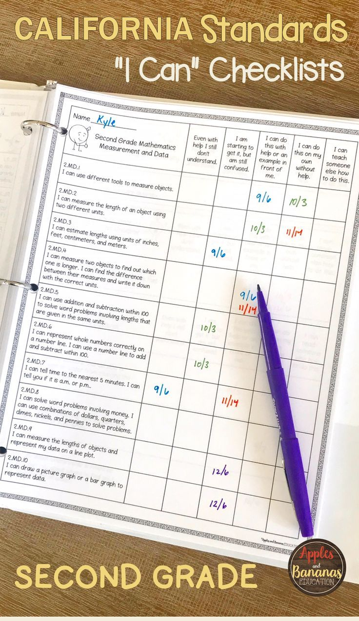 Second Grade California Standards Checklists Parent And Student Friendly I Can Form Secondgrade Standard Second Grade Math Standards Teaching Common Core