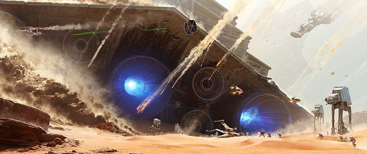 Star Wars At At And Spacecraft Ultra Wide Motion Panoramic Hd Wallpaper Star Wars Concept Art Star Wars Wallpaper Star Wars Battlefront