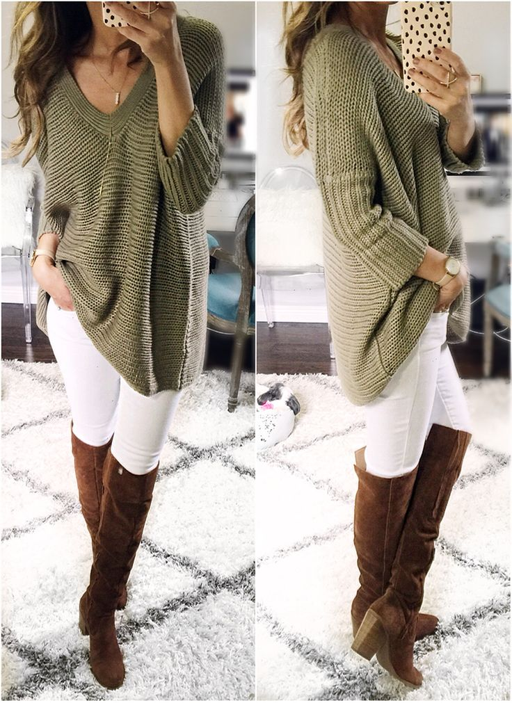 Fall cozy casual: Oversized olive green sweater, white skinny jean, brown riding boot