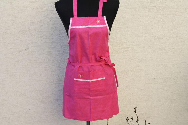 Schürzen - Kinder Schürze Kochen Backen Küche pink rosa Karo - ein Designerstück von trixies-zauberhafte-Welten bei DaWanda