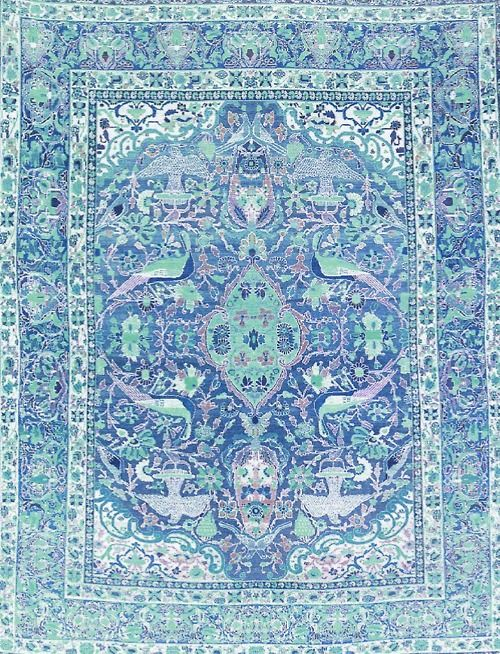 Every inch of the floor covered in diffrent colored woven rugs. Perfect.