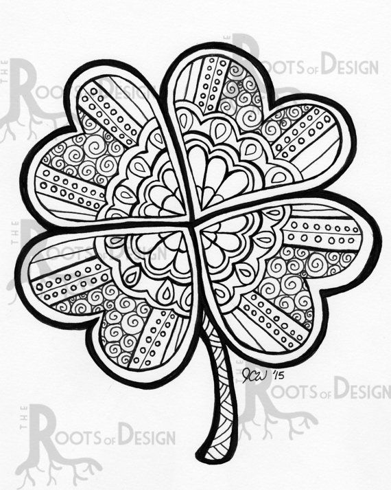 instant download coloring page four leaf clover shamrock print zentangle inspired doodle art printable