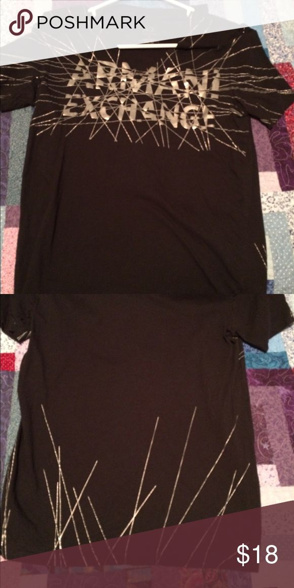 Armani Exchange tee Black top with silver logo in like new condition A/X Armani Exchange Tops Tees - Short Sleeve
